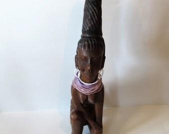 Large African Carved Wood Female Sculpture /MEMsArtShop.