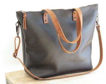 Large Black Leather bag with Brown Straps.  Zip and removable Cross Body Strap. Handmade. Zipper. Minimalist leather bag.