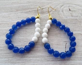 Jade earrings, white and blue earrings, drop earrings, gemstone earrings, teardrop earrings, dangle earrings, modern jewelry, stone jewelry