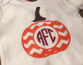 Fall Pumpkin Initial Bodysuit