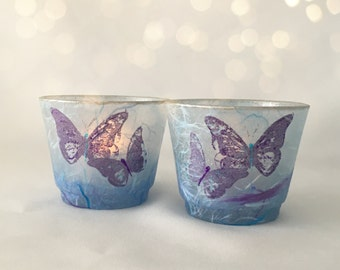 Butterfly Strawsilk candle holder set in shades of  Blue, Purple & Lilac. Gift Idea.