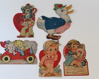 1940s Lot of 5 Mechanical Valentine Cards, Vintage Used Valentine's Day Cards, Vintage Valentine Greeting Cards