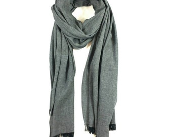 cotton scarf, long grey scarf, cool scarf, lightweight scarf, textured scarf