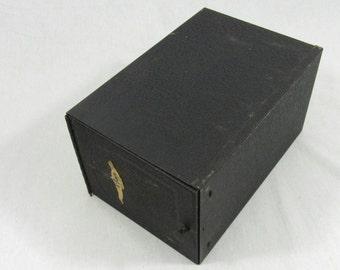 Vintage Metal Box Prescription Box Drug Store RX File Box
