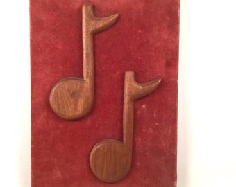 Music Notes Wall Hanging, Brown Wood 8th Notes and Rust Red Suede - Handmade Vintage Decor - Brick Red Burgundy Song Decor