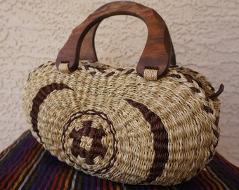25% OFF COUPON CODE: CEESALE25 Vintage Woven Wicker Purse w/ Wooden Handles and Zipper Closure