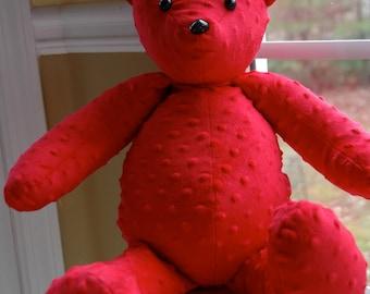 Minky teddy bear, red teddy bear, stuffed teddy bear