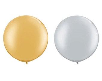 Gold/Silver Metallic Large Round Balloons - Jumbo 36 inch - Petite Party Studio