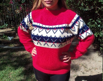 Red winter sweater,ski sweater,medium,1950s,JC Penny's, Free US shipping