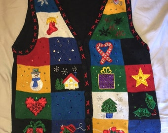 Ugly Christmas sweater, sweater vest, Christmas vest, black, red, yellow