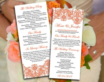 "DIY Wedding Program Template Vintage ""Chantilly"" Burnt Orange Printable Tea Length Program DIY Autumn Wedding Template Order of Service"