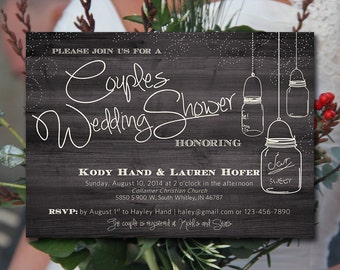 Couples Shower Mason Jar Wedding Invitation Template Ivory Rustic Wedding | Country Wedding Bridal Shower Printable