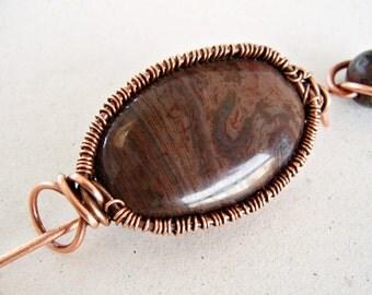 Copper Shawl Pin, Copper Brooch, Copper Pin, Wire Wrapped Pin, Copper Scarf Pin, Jasper Brooch, Jasper Pin, Gemstone Brooch, Brown Jasper