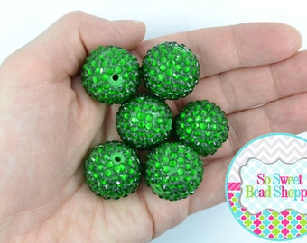 22mm Resin Rhinestone Beads, 6ct, Green, Christmas, Emerald, Round