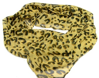 SALE - Sand Color Animal Print Scarf, Scarf, Printed Summer Leopard Scarf, Chiffon Animal Print Scarf, Animal Print Scarf, Print Scarf, Boho