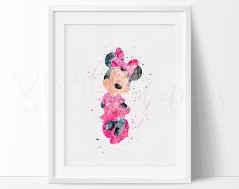 Minnie Mouse Print, Disney Watercolor Art, Nursery Art Print, Kids Room Decor, Baby Room, Wall Art, Buy 2 Get 1 Free, No. 66-1