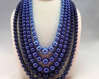 Vintage Blue Ombré 5 Strand Faux Pearl Necklace
