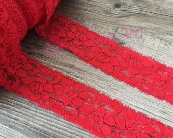 """1 Yard - 1.5"""" Elastic Red Elastic Lace - Lace Ribbon Elastic by the yard - Shiny Elastic - Stretch Lace - Stretchy Red Lace"""