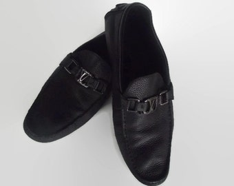 Size 10: Authentic LOUIS VUITTON Monte Carlo Leather Moccasin / Hockenheim Loafer / LV Driving Shoes /