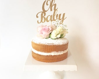 Gold Glitter 'OH BABY' Cake Topper / Baby Shower Gold Bling Cake Topper Party Decoration
