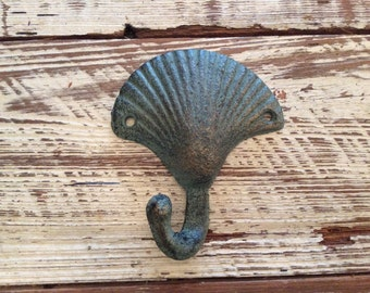 Cast Iron Seashell Hook Seashell Wall Hook Seashell Key Hook Iron Coat Hook Seashell Towel Hook Nautical Hook Coastal Hook Beach Hook