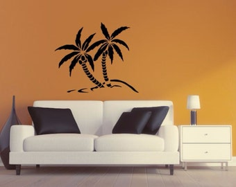 Palm Tree Wall Decal - Palm Tree Silhouette Vinyl Wall Sticker Palm Tree 10