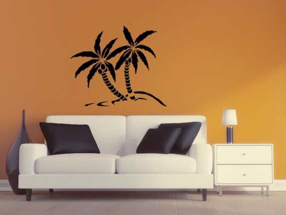 palm tree wall decal palm tree silhouette vinyl wall sticker. Black Bedroom Furniture Sets. Home Design Ideas