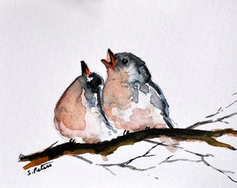 Original ACEO Impressionist Watercolor Painting, Original Art ACEO, Miniature Bird Painting 2.5x3.5 Inch SFA