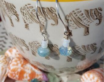 Light Blue Opalescent Czech Fired Glass Bead Earrings