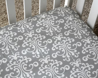 Gender Neutral Gray Damask Baby Bedding Fitted Crib Sheet/Changing Pad Cover/Minky Backed Blanket