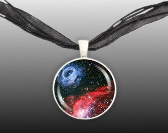 """Star Forming Nebulae in the Large Magellanic Cloud Galaxy Space 1"""" Pendant Necklace in Silver Tone or Gold Tone"""