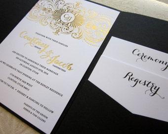 100 - Gold Foil and Black Pocket Wedding Invitations