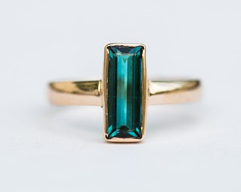 Indicolite Tourmaline 14k Gold Ring - Blue Tourmaline Ring - Indicolite Tourmaline - Size 7.5 - Blue Indicolite Tourmaline - Indicolite 7.5