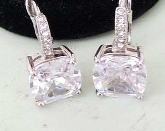 Earrings, Crystal Earrings, Rhinestone Earrings, Bridal Earrings, Cushion Cut, Statement Earrings, Pierced, Dangle Earrings, Wedding