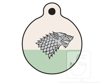 Dire Wolf Dog ID Tag - Stark Sigil - Game of Thrones Themed Pet ID Tag - 2 sided aluminum full color ID tag