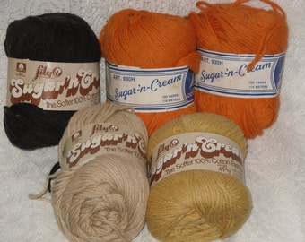 Lily Sugar 'n Cream Cotton Yarn Lot of 5 Assorted Colors