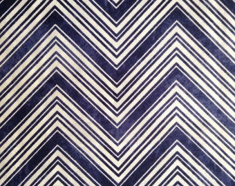 One Half Yard of Fabric Material - Navy Blue and White Chevron