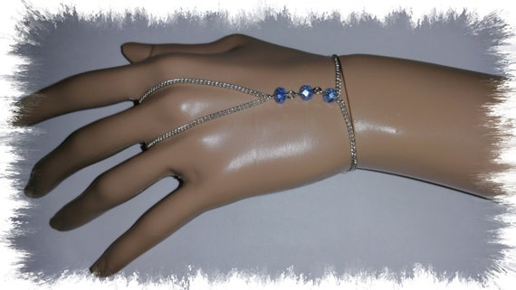 Blue finger bracelet, sterling silver finger bracelet, crystal bracelet, chain jewelry, hand jewelry, hand bracelet, hand chain, fashion