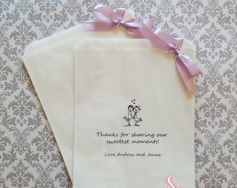 Personalised Sweetest Moments White Paper Candy Buffet Lolly Bags x 50