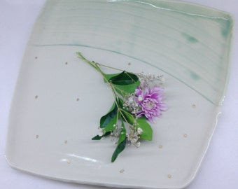 Ceramic plater   Hand painted with gold lustre   Porcelain   12ct Gold
