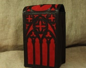 Gothic Red - black leather Big Tarot cards case with pentagram / Faust