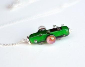 Bubbles - Green Pendant - Glass Pendant - Lampwork Necklace - Necklace - Lampwork Pendant - Pendant - Bubbles Pendant