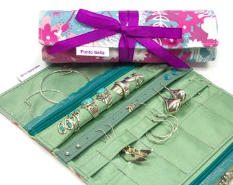 The Ultimate Travel Jewelry Roll In Exclusive Punto Belle Fabric 'Waves'. Bridesmaid Gift, Gifts For Her, Jewellery Organizer, Travel Gift
