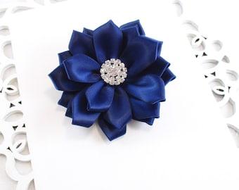Navy Satin Flower Hair Clip, Pearl or Rhinetone, Navy Wedding Flower, Wedding Flower Girl Bow, Bridesmaid Hair Clip, Navy Hair Clip