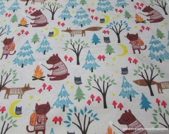 Flannel Fabric - Camping Animals - 1 yard - 100% Cotton Flannel