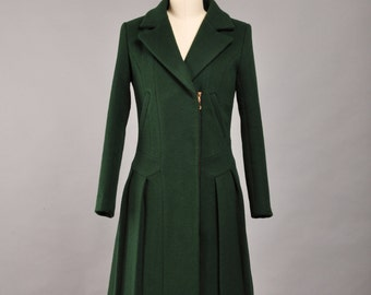 Slim Fitting Wool Winter Coat Jade Green Wool Coats For Women (90494)