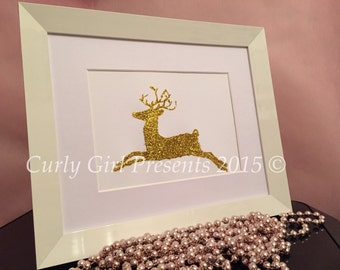 Reindeer Glitter Christmas Decoration Print