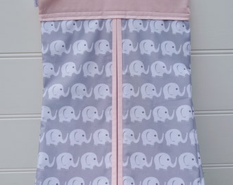Nappy Stacker - Diaper Stacker with Pink & Grey Elephants