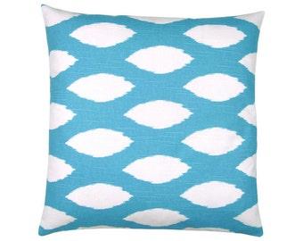 Pillowcase CHAZ aqua blue ethnic linen structure 40 x 40 cm