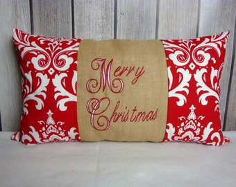 Christmas Pillow. Pillow Cover. Holiday Pillow. Red Pillow.